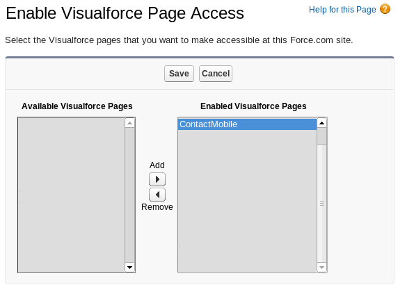 Enable Visualforce page ContactMobile available to public in Site