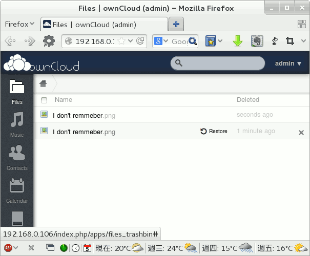 Rollback the deleted version you want in ownCloud