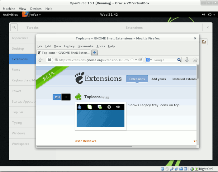 GNOME Extensions: TopIcons