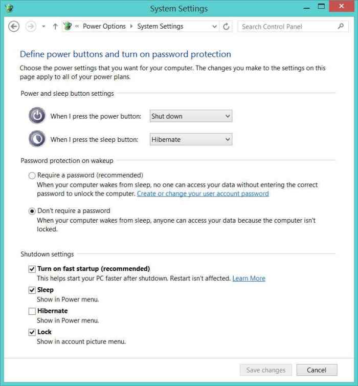 Change the hybrid shutdown feature in Windows 8 Control Panel