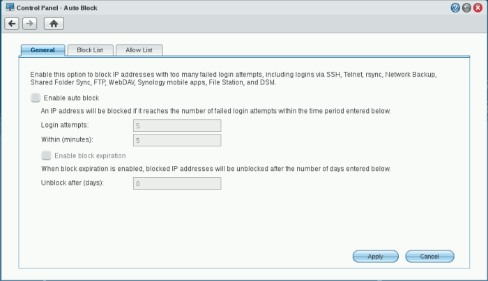 Auto Block Settings in DSM 4.3.