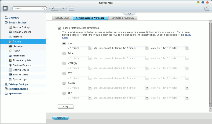 Network Access Protection Settings in QTS.