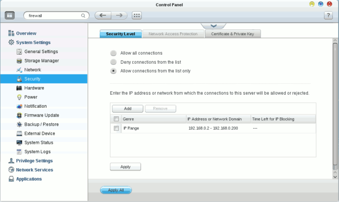 IP-specific Security Level Settings in QTS.