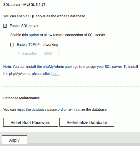 Reset MySQL in QTS