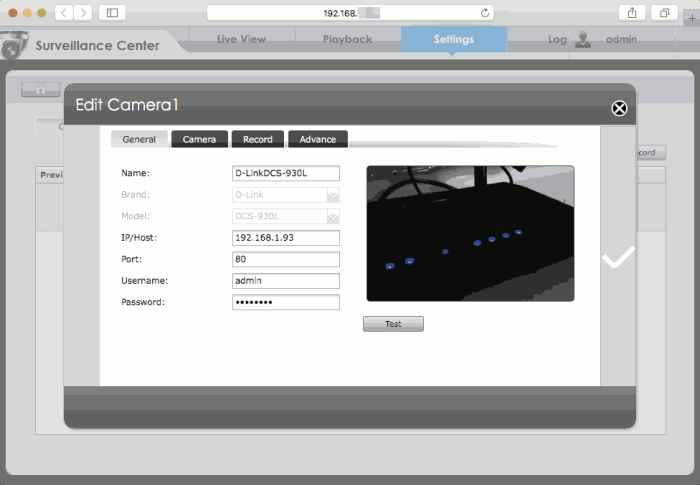 Settings of Camera in Surveillance Center 2.6